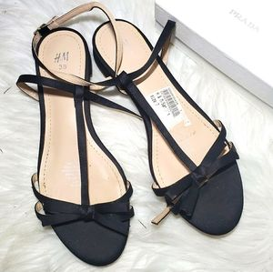 ❤ 4 for $25 ❤ Black Ankle Sandals 7 Flats Shoes